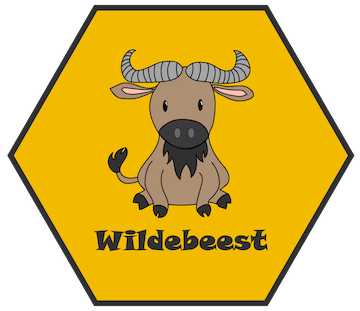 """Yellow hexagon containing a cartoon wildebeest sitting down with the word """"wildebeest"""" underneath"""