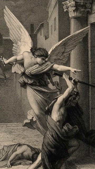 Angel of Death forcing a minion into prying open a fated person's door