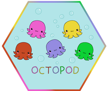"""Hexagon containing five different colored octopuses on a light blue background with the word """"octopod"""" underneath"""