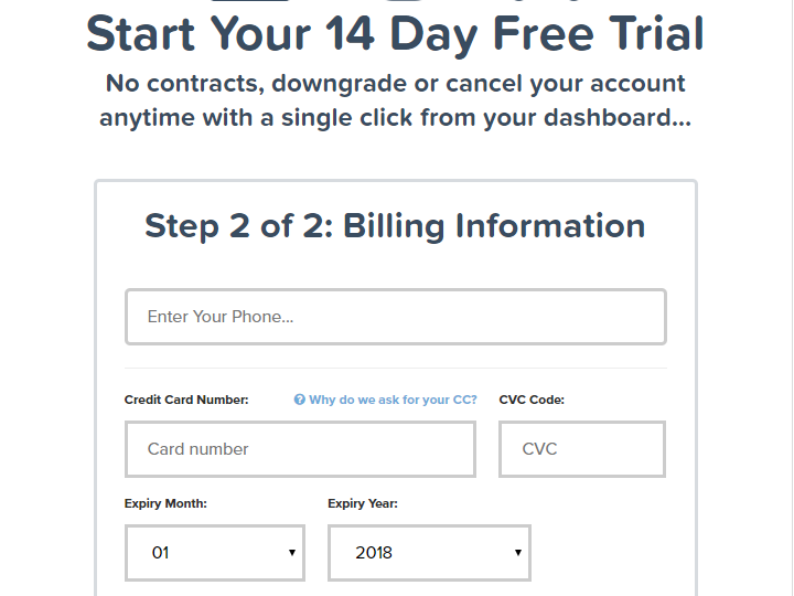 credit card details for free trial