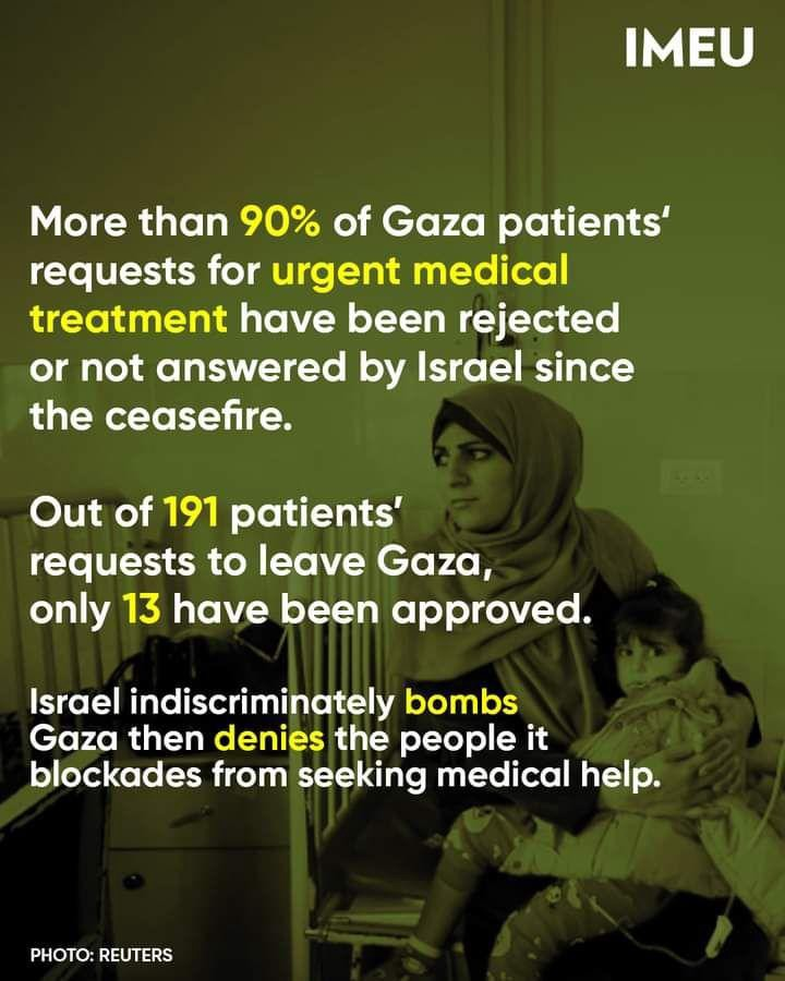 More than 90% of Gaza patients' requests for urgent medical treatment have been rejected or not answered by Israel since the ceasefire