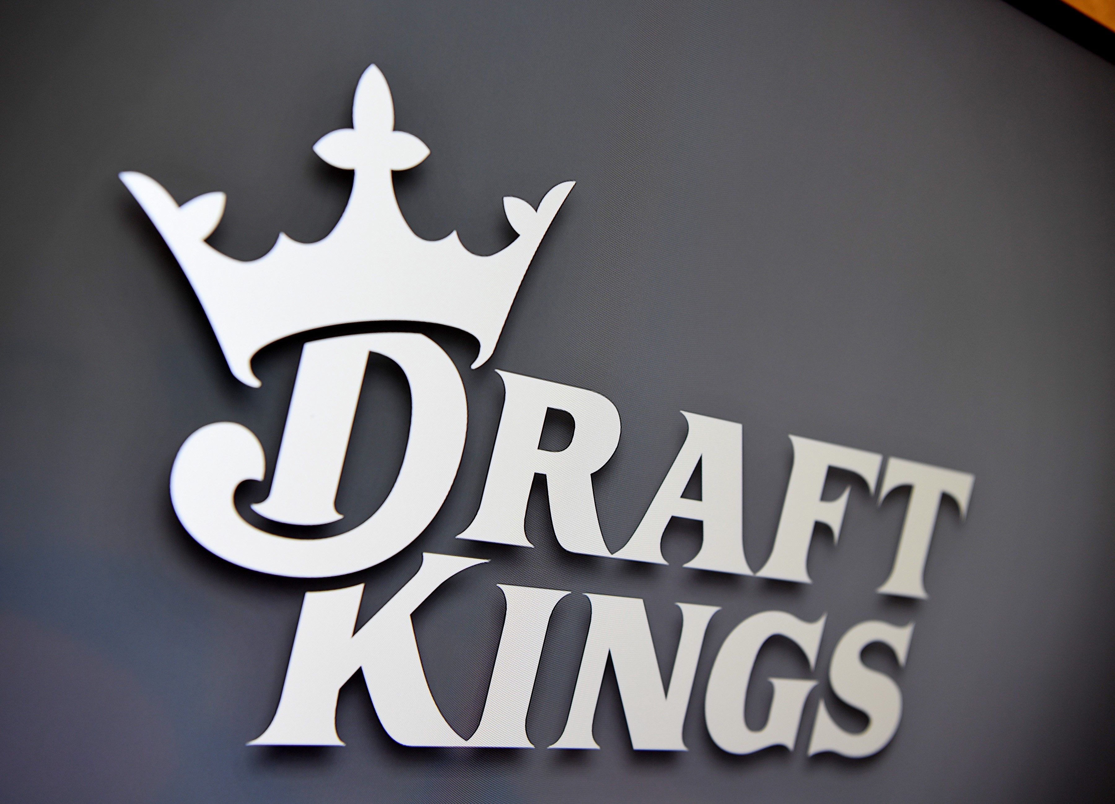 General view of the DraftKings logo at the ribbon cutting opening celebration for its Las Vegas location.