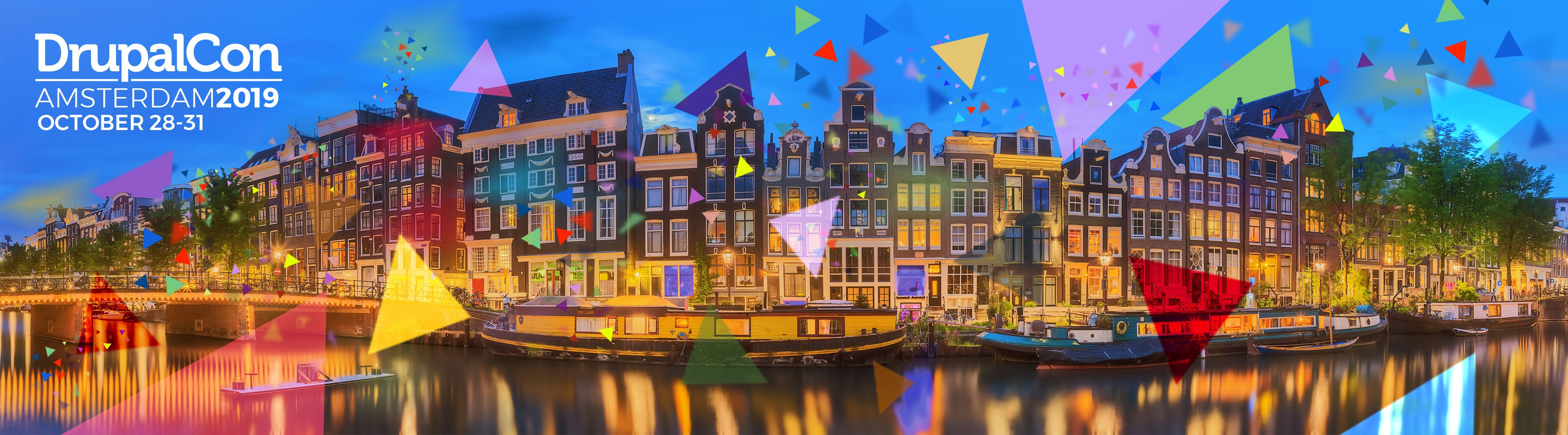 DrupalCon Amsterdam 2019 official promotional banner with Amsterdam canals and coloured party particles.