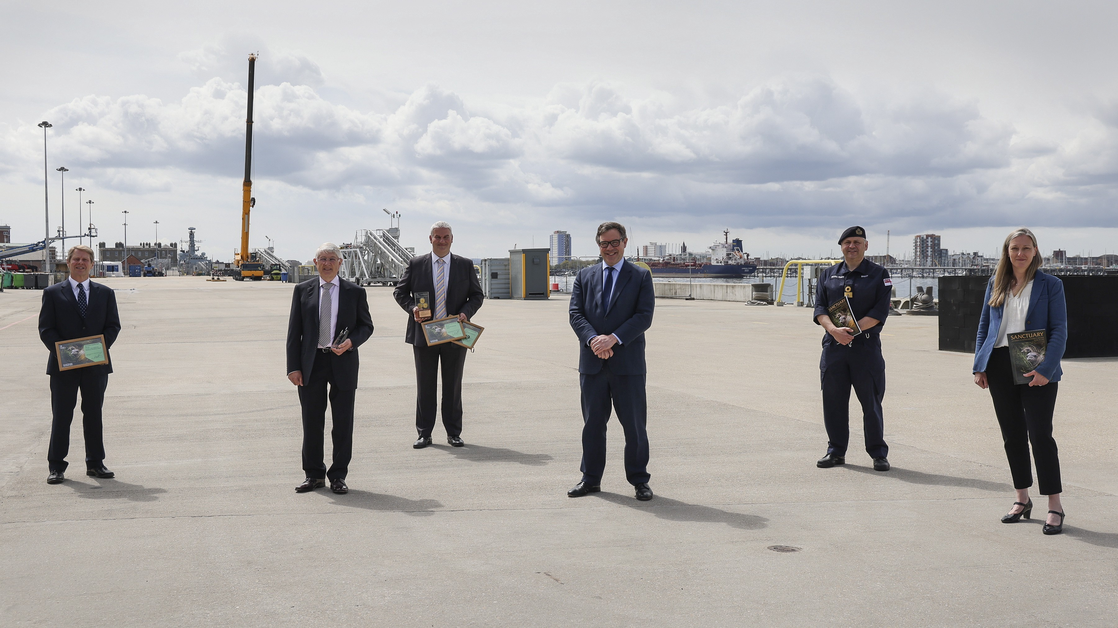 Minister for Defence Procurement, Jeremy Quin, presented winners from HM Naval Base, Portsmouth with their Defence Sustainable Business and Low Carbon Sanctuary Awards 2020 during a recent visit to the base.