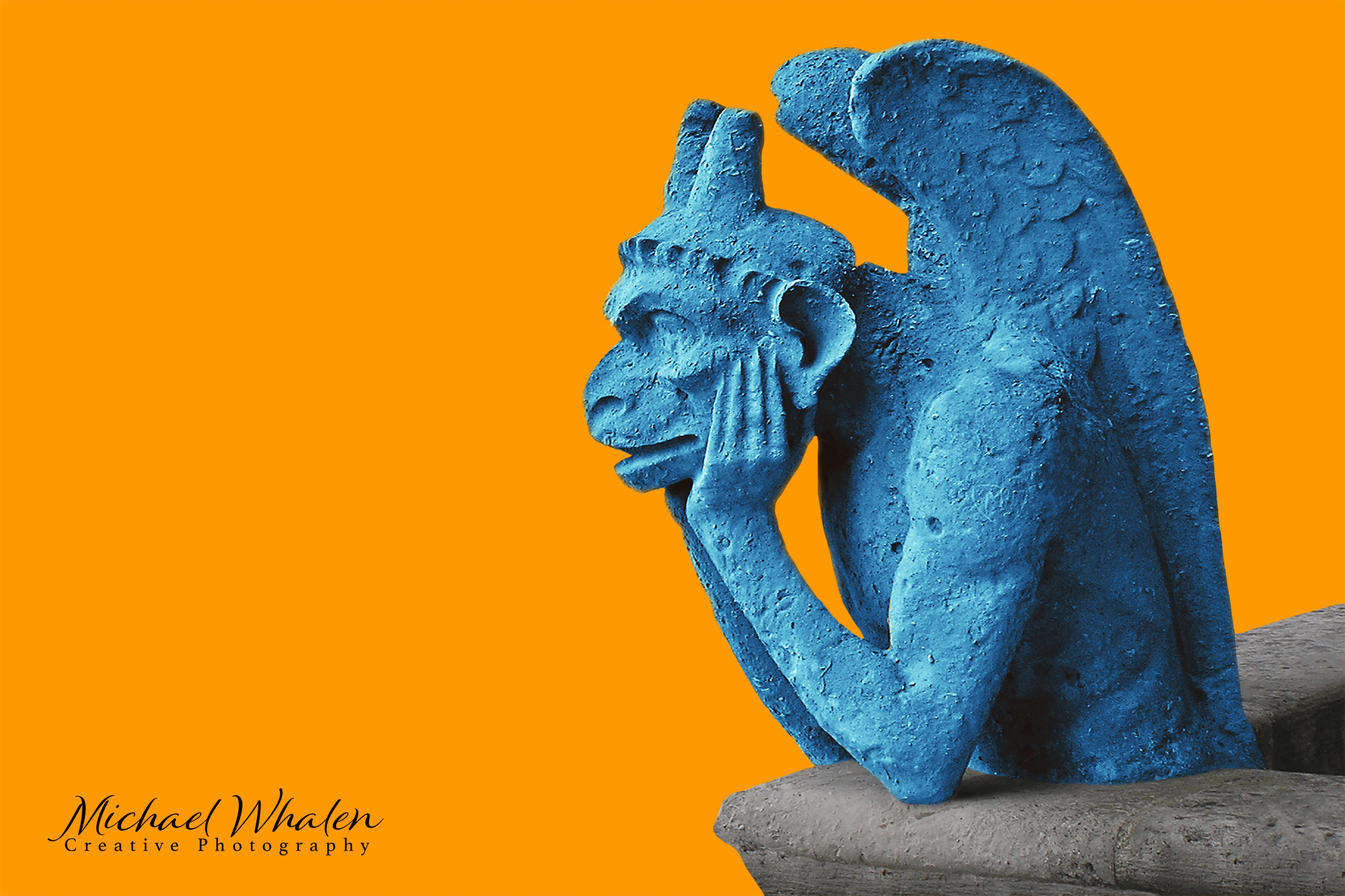 Contemplative gargoyle at Notre Dame, colored blue against an orange background.