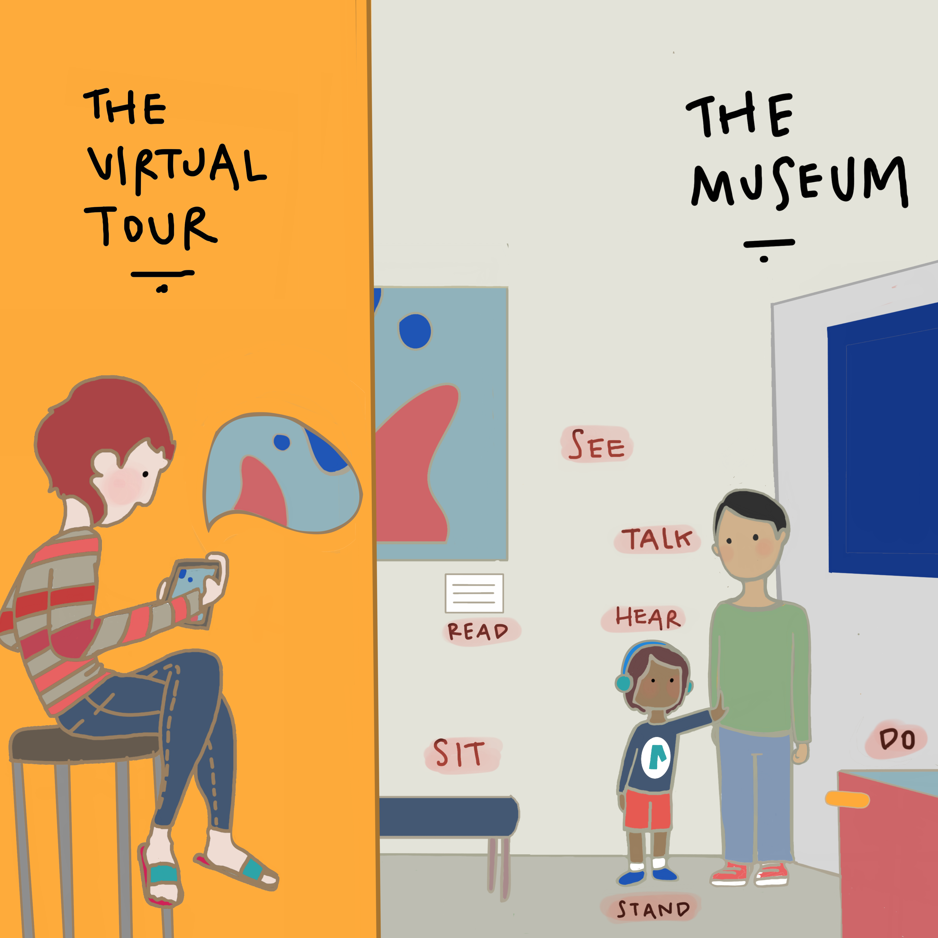 On the left a boy visiting a museum virtually through his tablet; on the right, an adult and a kid within a museum space.