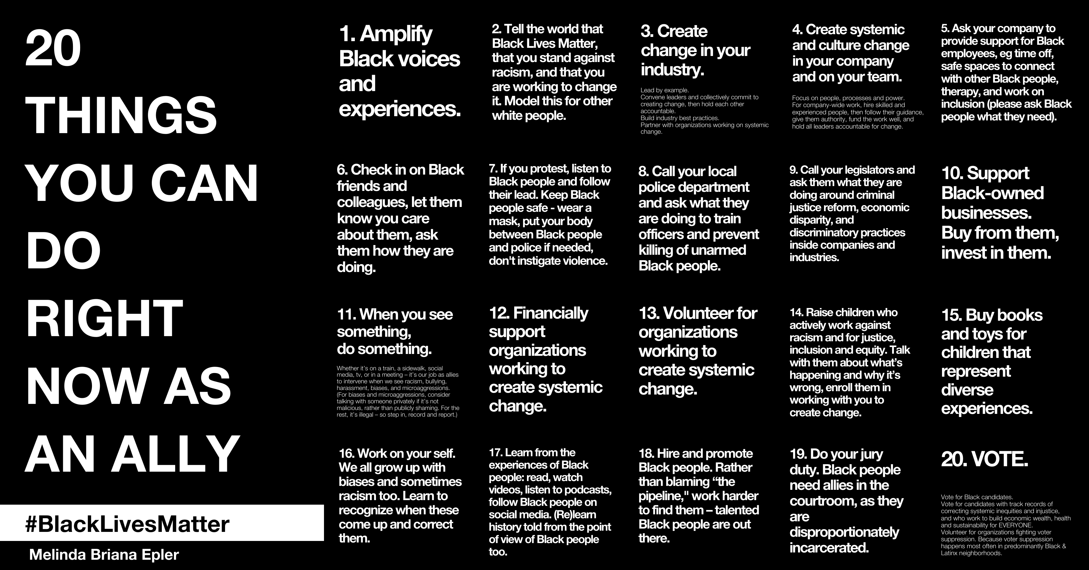 The image has numbers 1–20 of 20 Things You Can Do As An Ally Right Now. Each one is listed in the text below in the article.