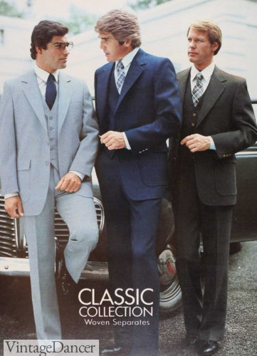 """Three men in suits standing in front of a car. At the lower-middle in white-text, """"Classic Collection Woven Separates."""""""