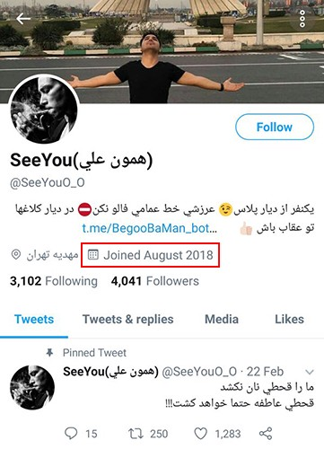 Dear Twitter, Please rescue the Iranian from the fake user