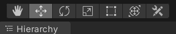 These tools are at the top left of Unity Editor