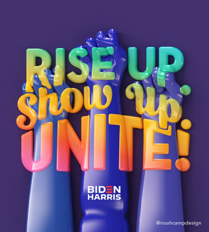 Lettering art of the phrase 'Rise up. Show up. Unite!' by Noah Camp