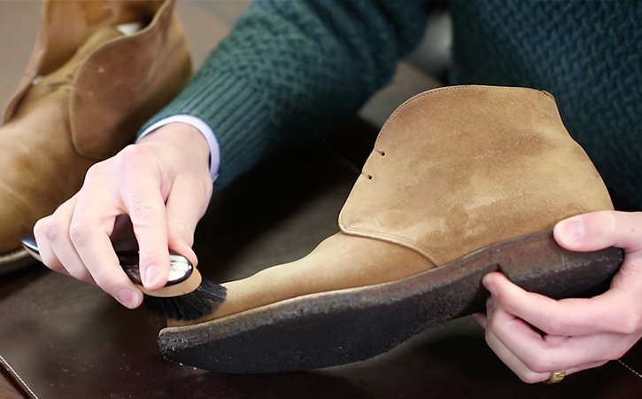 How do you clean suede shoes with