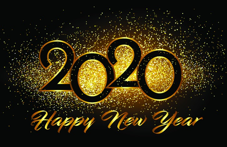 Happy new year 2020 background with fireworks