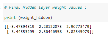 Figure 51: Displaying the final hidden layer weight values.