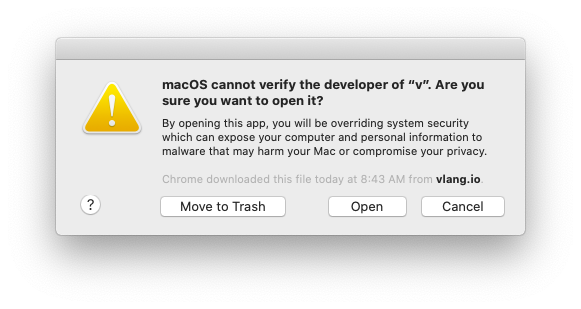 "macOS blocks the execution of the app yet again, but this time, there's an ""Open"" button, which empowers the user to ""run"" it"