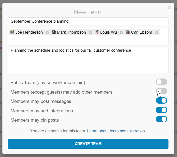 Advanced Team Administration for Glip [New Feature]