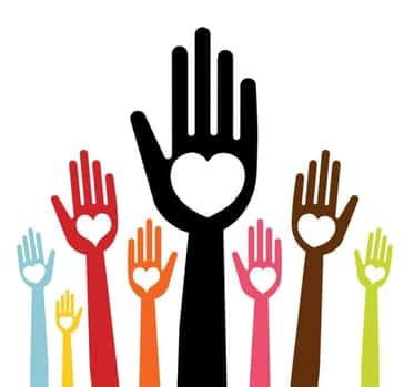 Eight multi-colored hands raised in the air with hearts on their palms