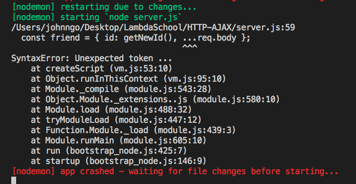 Nodemon App Crashed Waiting For File Changes Before Starting By Harsh Patel Oct 2020 Medium