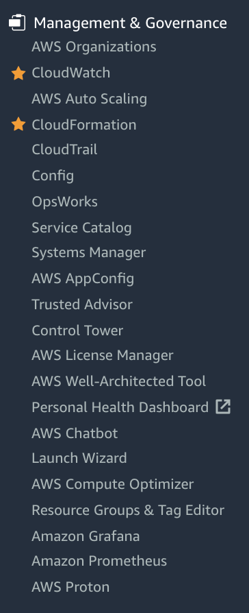 List of AWS native Management services as of March 2021