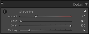 Screenshot of the detail tab in Lightroom with Deconvolution and Masking settings.