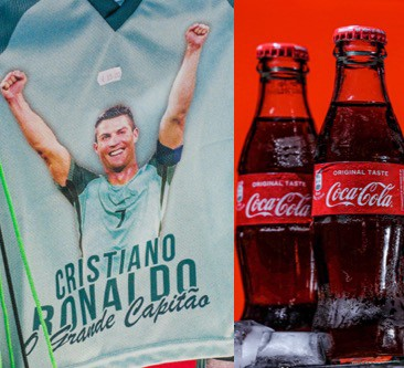 Picture of a Ronaldo t-shirt and two Coke bottles