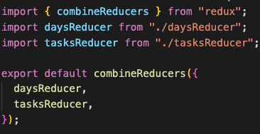 file that combines reducer, which will get exported and used in createStore method.