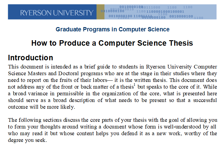 Example of thesis of computer science usda research papers