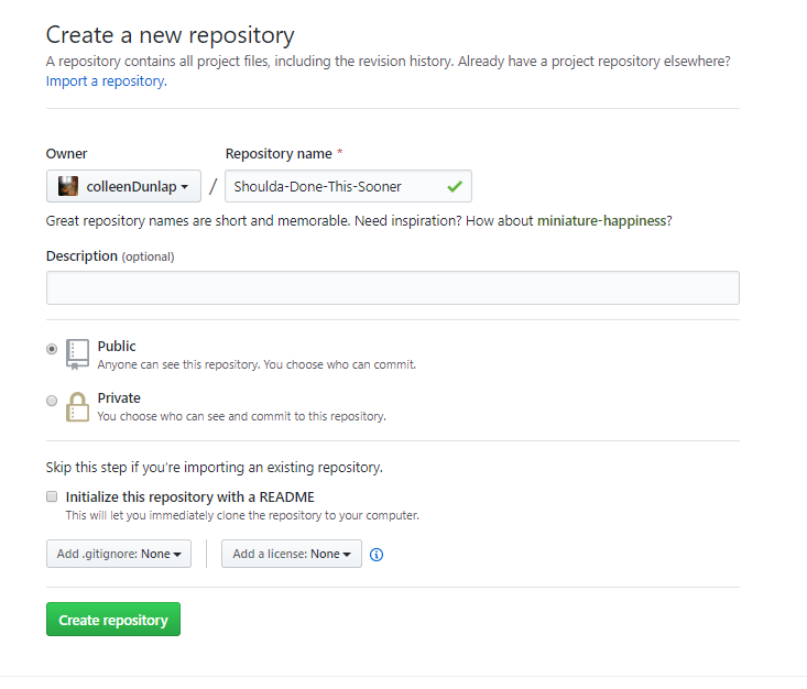 Populate GitHub Repo with Local Folder from Command Line | by Colleen  Dunlap | Medium