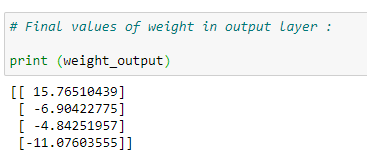 Figure 70: Displaying the final weight values for our output layers.