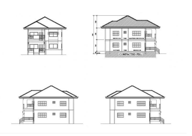 Elevation Drawing Of House Design In Autocad Cadbull
