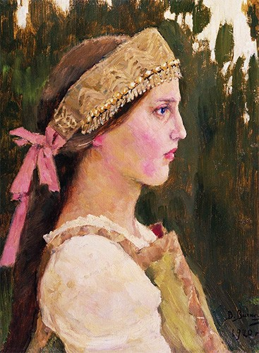 Portrait of a Russian girl wearing a kokoshnik with beaded fringe and pink ribbons that tie it on.