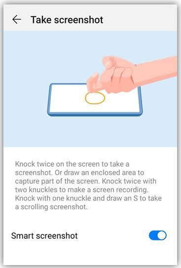 Knuckle double-tap for a quick screenshot