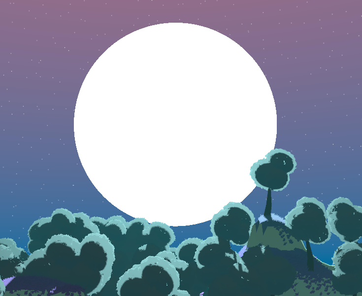 a big, round moon above the same landscape