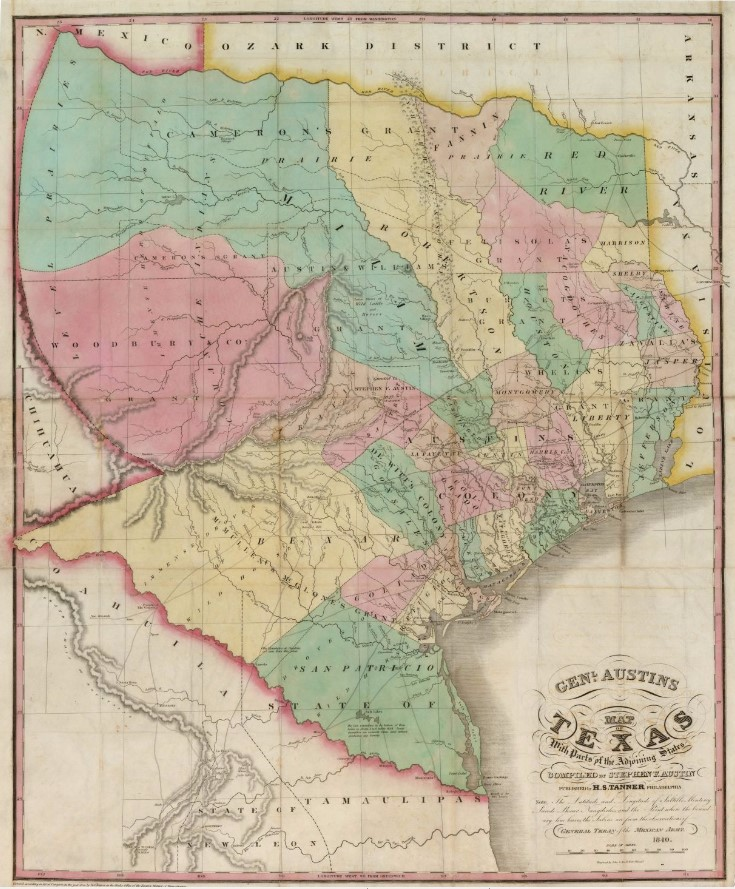 Map Of Texas Showing Austin.Genl Austin S Map Of Texas With Parts Of The Adjoining