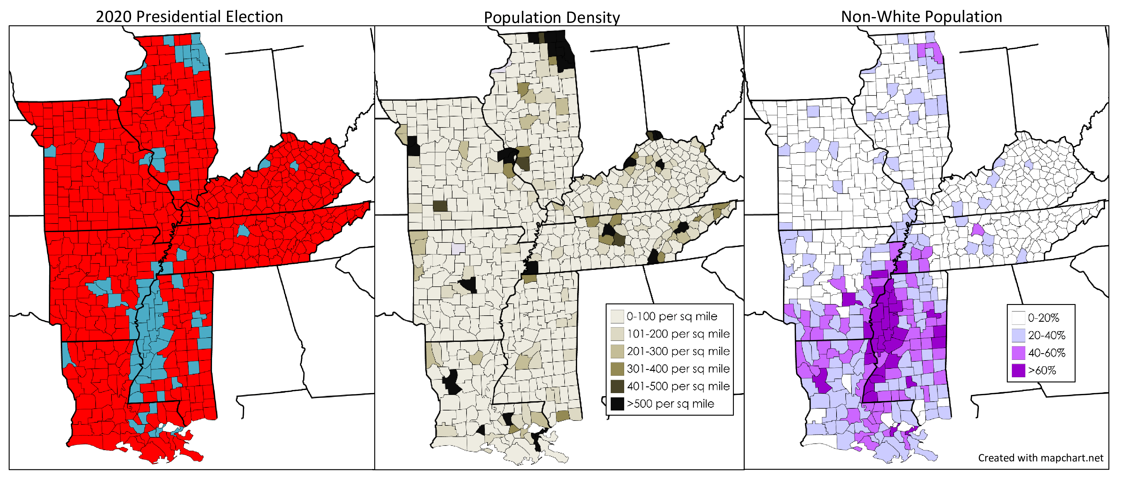 Mississippi Alluvial Plain 2020 presidential map, population density, and non-White population