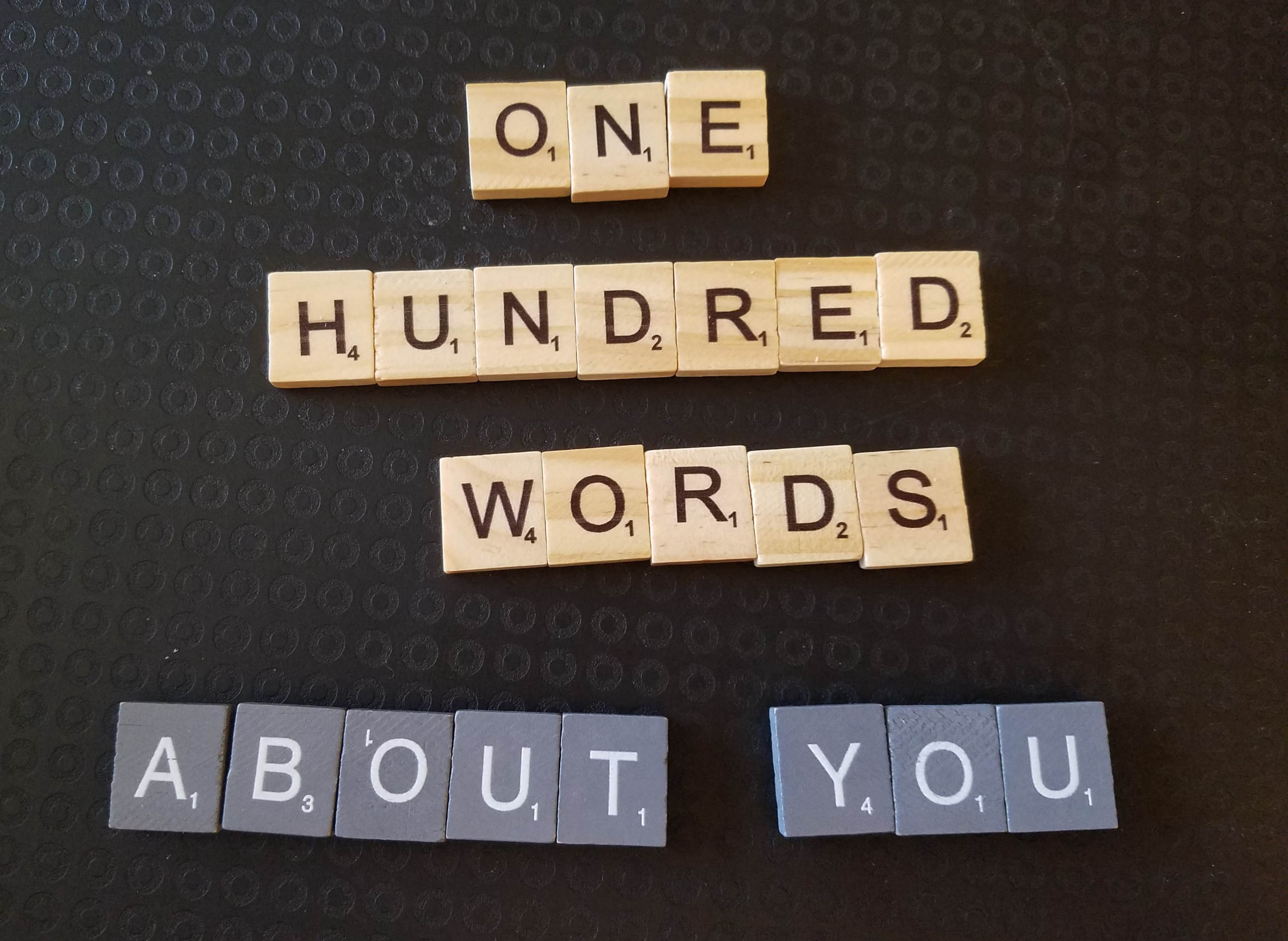 One hundred words/ About you in wooden letter tiles