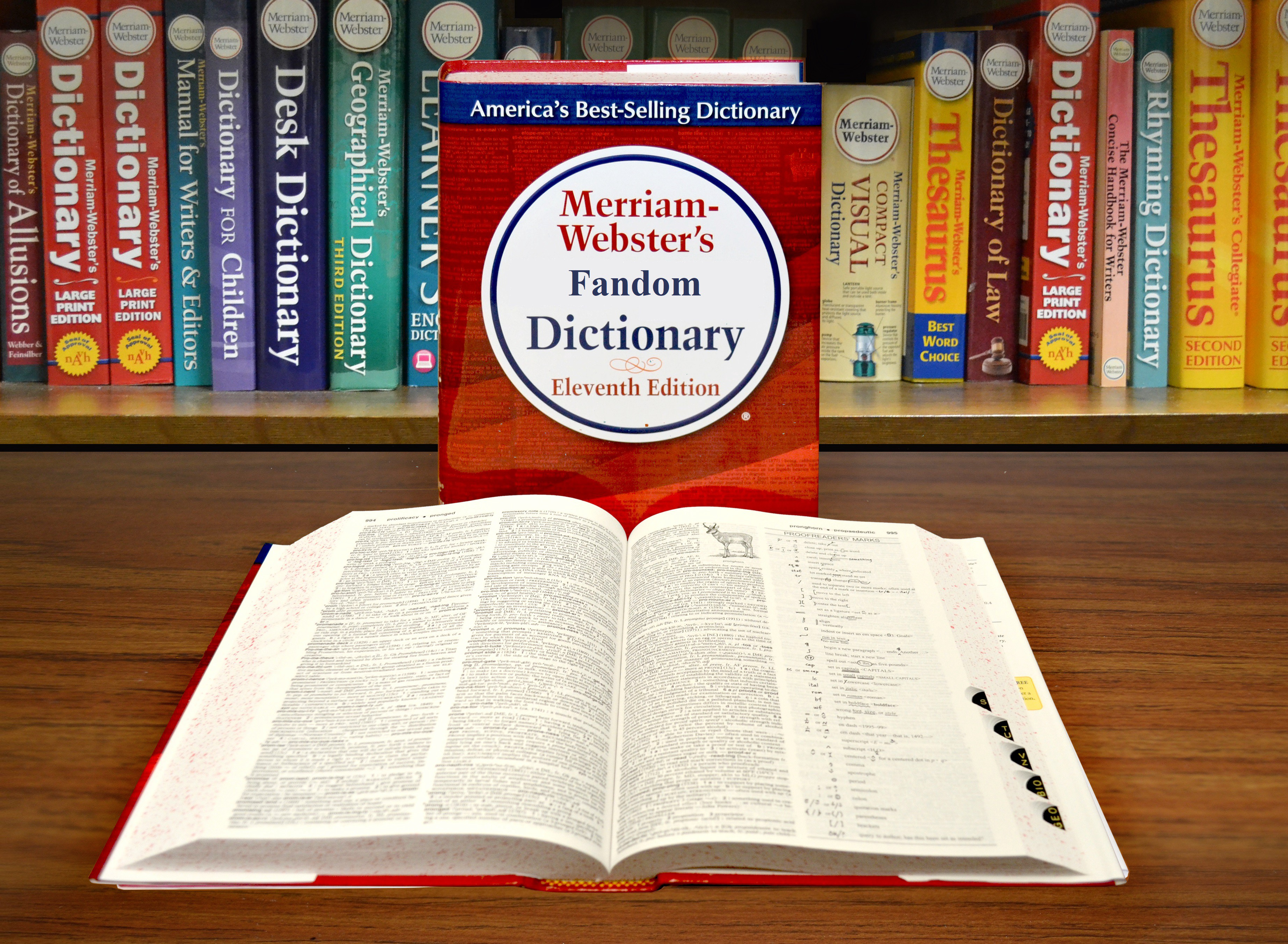 "Two dictionaries, one standing that reads ""Merriam-Webster's Fandom Dictionary"", one lying open and flat in front of it."