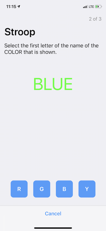 The word blue, written in the color green, with 4 buttons to select the first letter of the name of the COLOR that is show