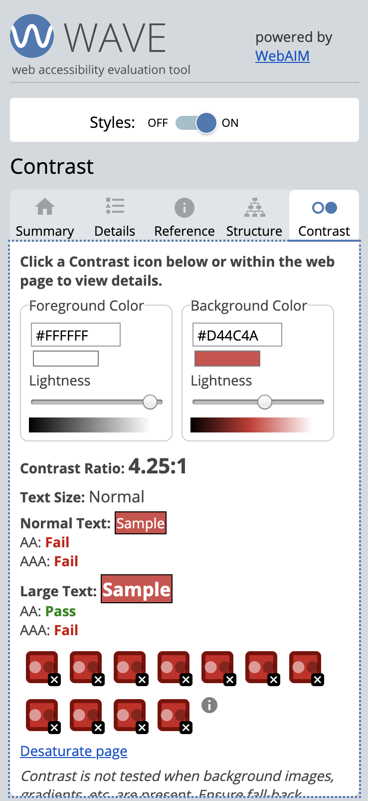 Example of the WAVE chrome extension contrast checker