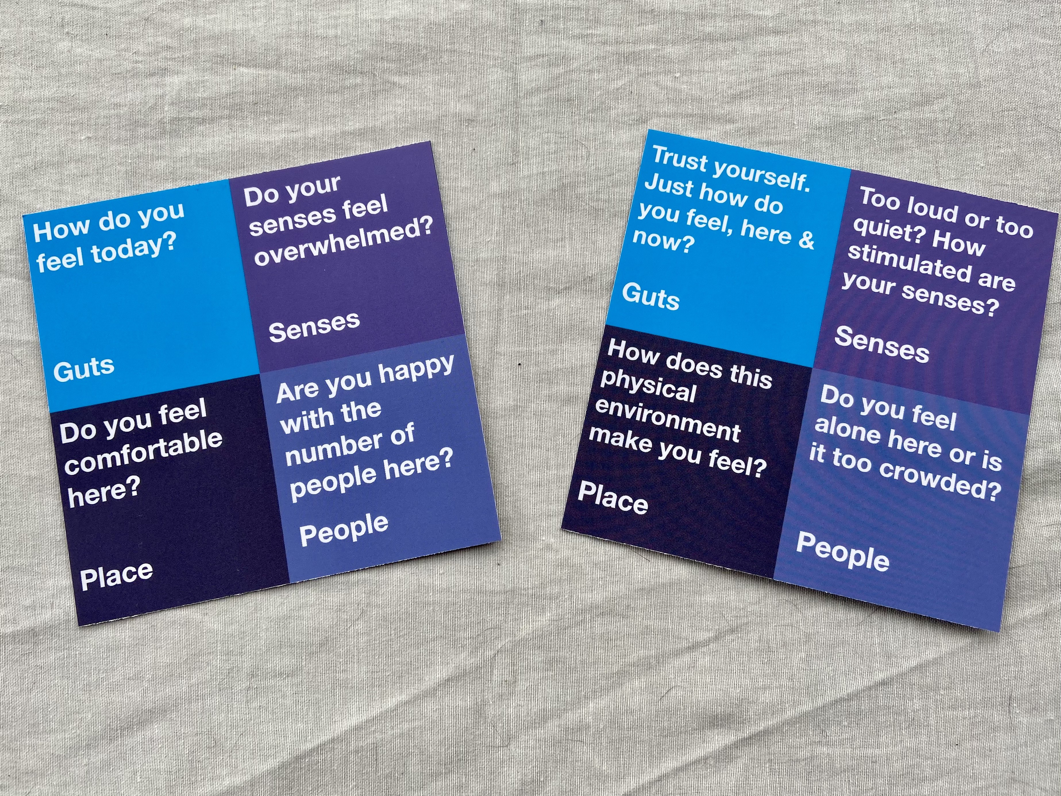 two sides of card with questions about personal sense of comfort — physically, technically, socially and emotionally