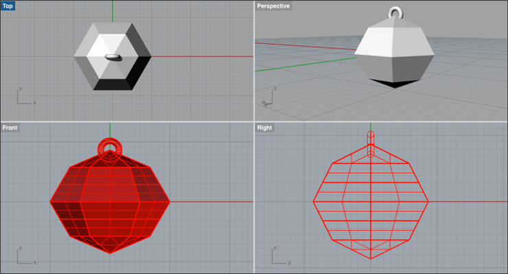 Make a Simple Faceted Hex Pendant in Rhino 3D - Drawing Post