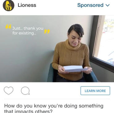 Lioness Facebook and Instagram Sex Toy Adverts