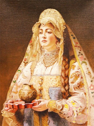 Painting of a Russian noblewoman wearing a large kokoshnik over a lacy cap and floral veil.