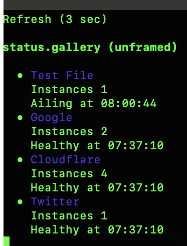 """The w3m textual browser showing the status page with 4 instances, one of which currently has a health status of """"ailing"""". The page is rendered with no JavaScript required."""
