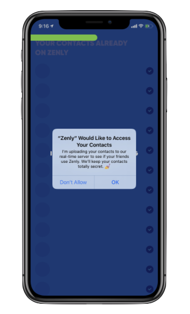 A popup notification asks the user for permission to access their contacts and assures them that the information will be safe
