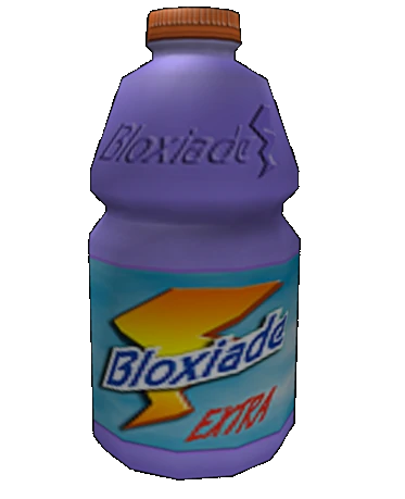 A photo of the common bottle asset, looks exactly like a Gatorade bottle except the label reads Bloxiade (that is spelled as: b l o x i a d e)