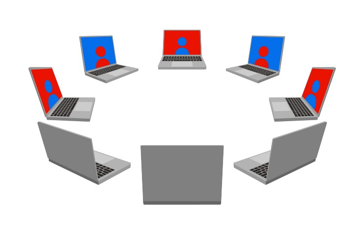 A circle of laptops facing each other, each projecting an avatar on screen.