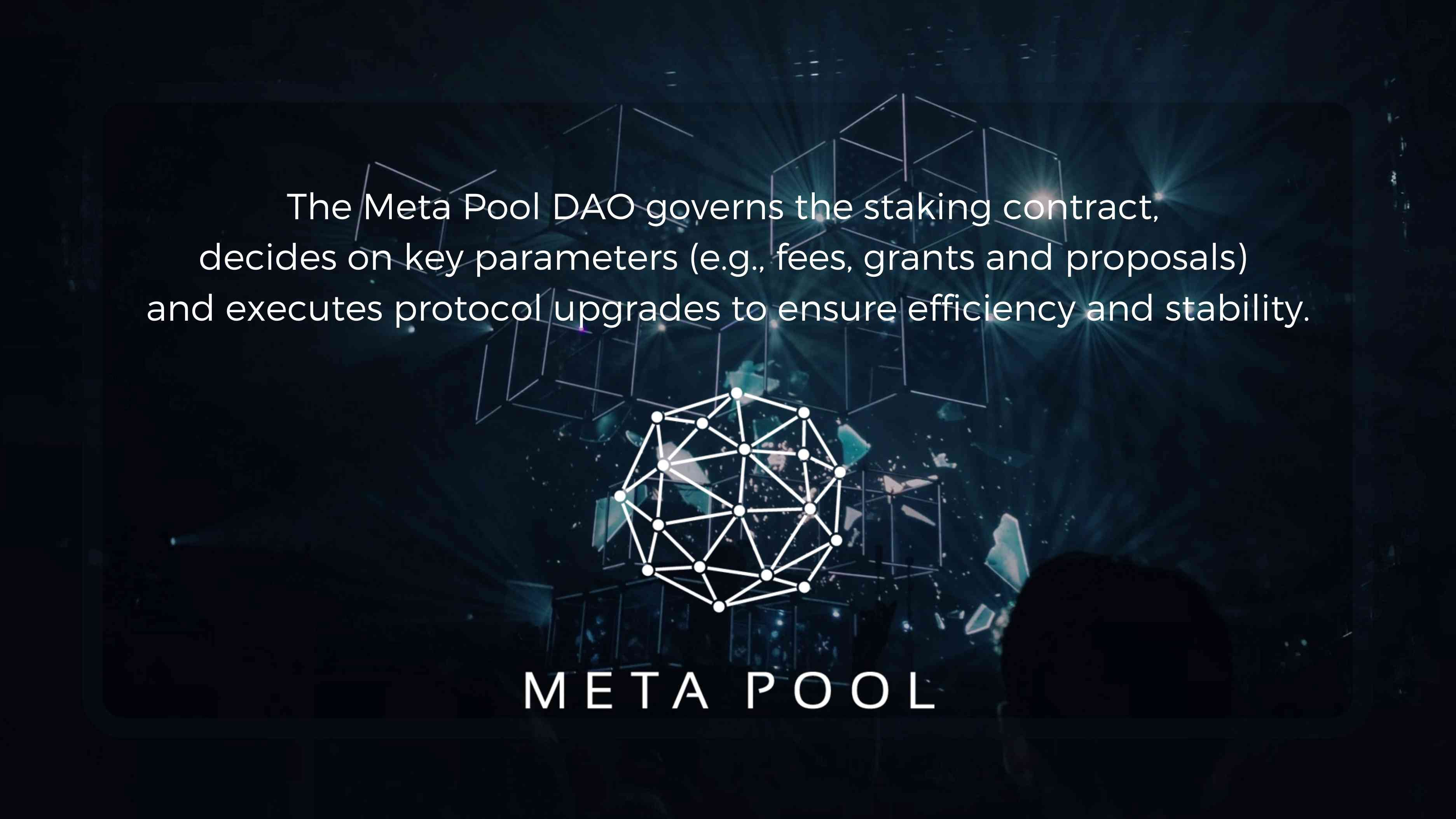 Meta Pool DAO governs the staking contract, decides on key parameters and executes protocol upgrades to ensure efficiency and stability.