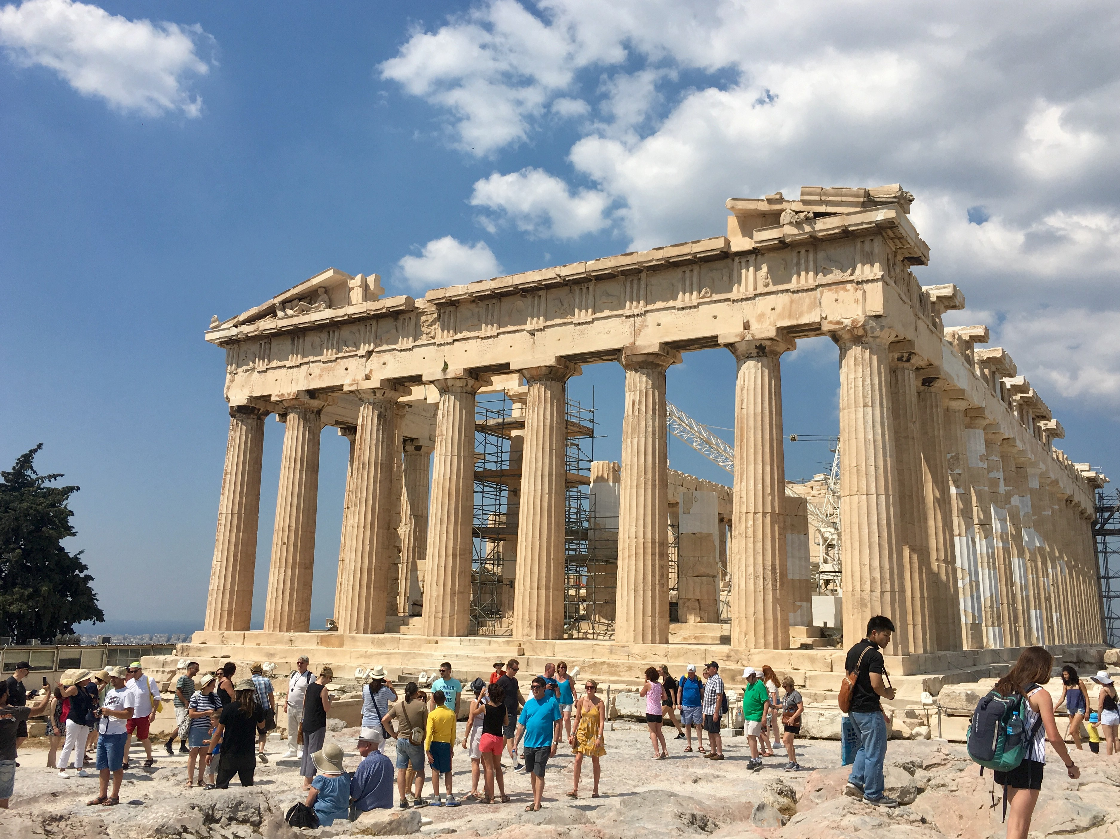 The Parthenon in Athens, surrounded by tourists