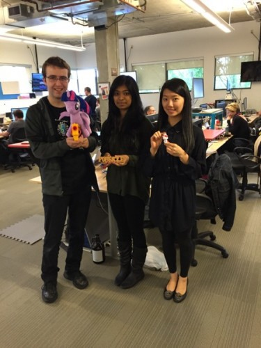From left to right: Peter Deltchev, Sonika Prakash, Yolanda Liu. Peter is a current a co-op on the Datalab team, whereas Sonika and Yolanda are former co-ops now working at Hootsuite full-time.